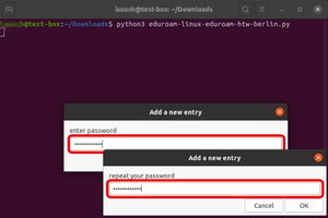 Enter password and confirm it