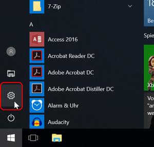 Windows Einstellungen öffnen