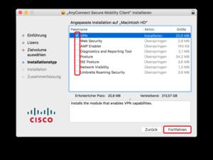 Cisco Anyconnect Setup Paketauswahl