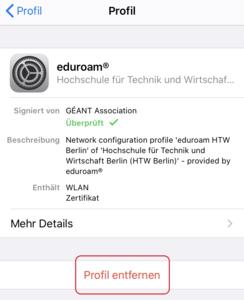 iOS Einstellungen Eduroam Profil löschen