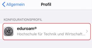 iOS Einstellungen - Eduroam Profil