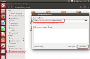 Ubuntu Dateimanager mit Server verbinden