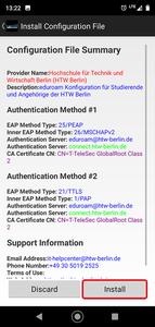 Install configuration file