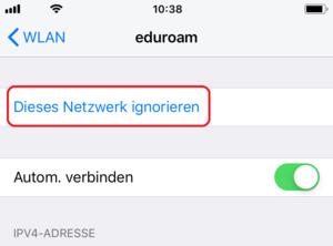 Netzwerk Eduroam vergessen