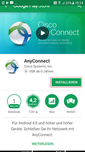 Google Playstore mit Cisco Anyconnect