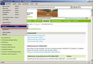 Firefox Webseite drucken