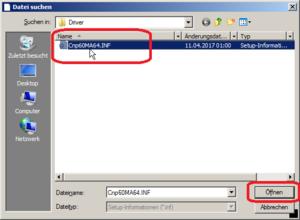 Dateibrowser zum Auswählen des Treibers