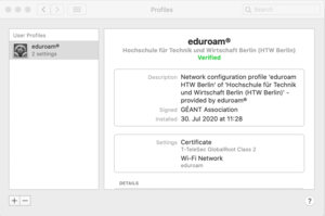 Eduroam profile installed