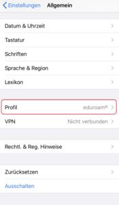 iOS Einstellungen - Allgemein