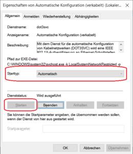 Starttyp der Automatischen Kofiguration (verkabelt) ändern