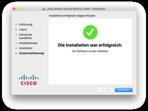 Cisco Anyconnect Setup abgeschlossen